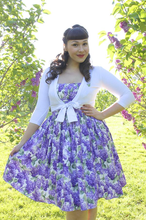 lilac print dress