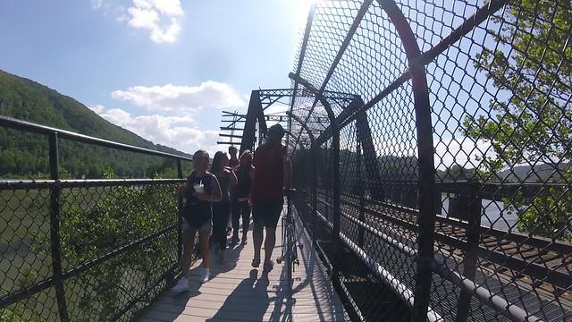 Walking across the bridge with Mike