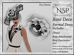 NSP Rose Deco Formal Dress with Hat - Black & White Dots
