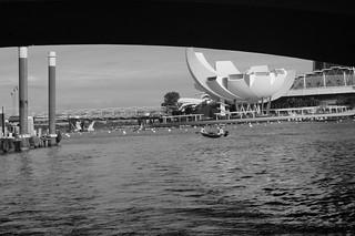 Artscience Museum seen from under bridge