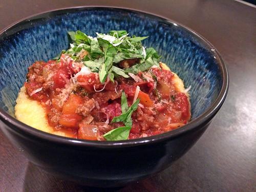 Parmesan polenta with ragu