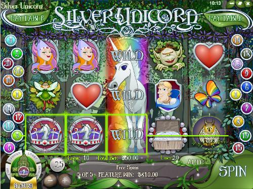 free Silver Unicorn slot expanding wild
