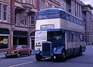 Preston Corporation's Leyland PD3-4 PRN 905 (fleet No 13) in Lancaster Road, Preston, England, United Kingdom.
