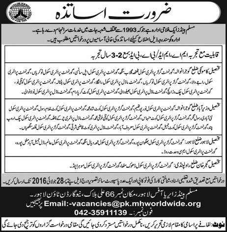 Muslim Hands Teachers Required for Government Schools of  Punjab Districts