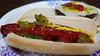 Grilled hot dog and cheeseburger