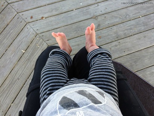 striped DIY baby leggings