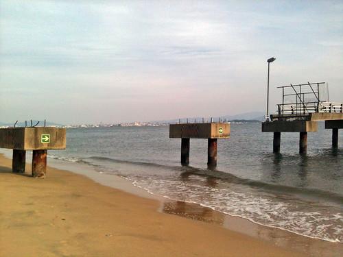 sea beach japan evening pier sand ruins kyushu iphone hakata