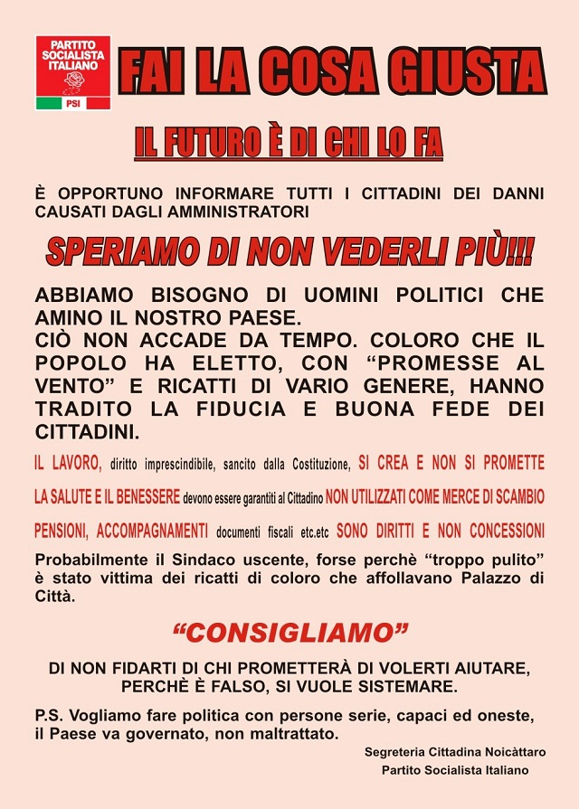 Noicattaro. Manifesto PSI intero