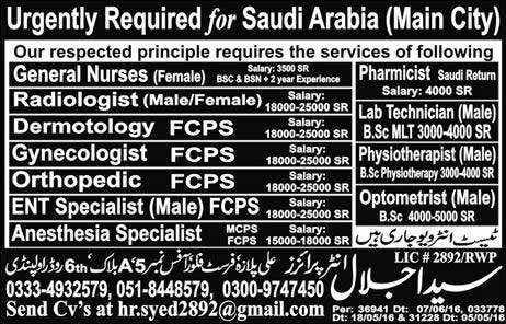 Urgently Required for Saudi Arabia Main City