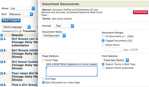 Girl scout cookies news article, download screenshot on LexisNexis