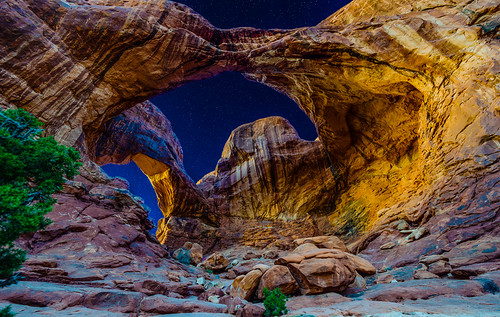 park pink blue sunset wild sky west colors yellow night dark stars utah warm glow arch arches double national