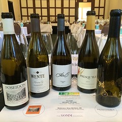 The @ChardSymposium panel wine bottles from our tasting #101winetours #sommjournal #shareslo #chardonnay @parkersanpei