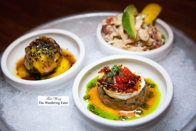 Crudo tasting - Ceviche Mixto, Salmon Brulee, Seared salmon with passion fruit & caviar