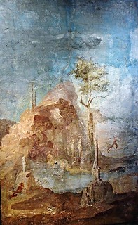 """Landscape with myth of Actaeon"" (25-45 AD) - from Vesuvian area - Exhibition ""Myth and Nature"" at Archaeological Museum of Naples, until September 30, 2016"