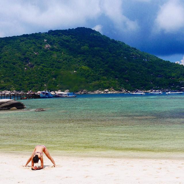 At the pristine beach of Koh Nangyuan at Koh Samui, Thailand.
