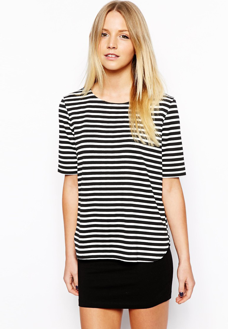 New Look Petite Textured Stripe Boxy Tee