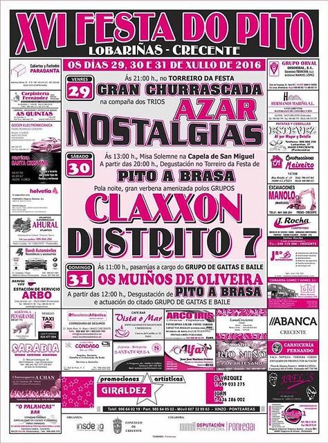 Crecente 2016 - XVI Festa do Pito en Lobariñas - cartel