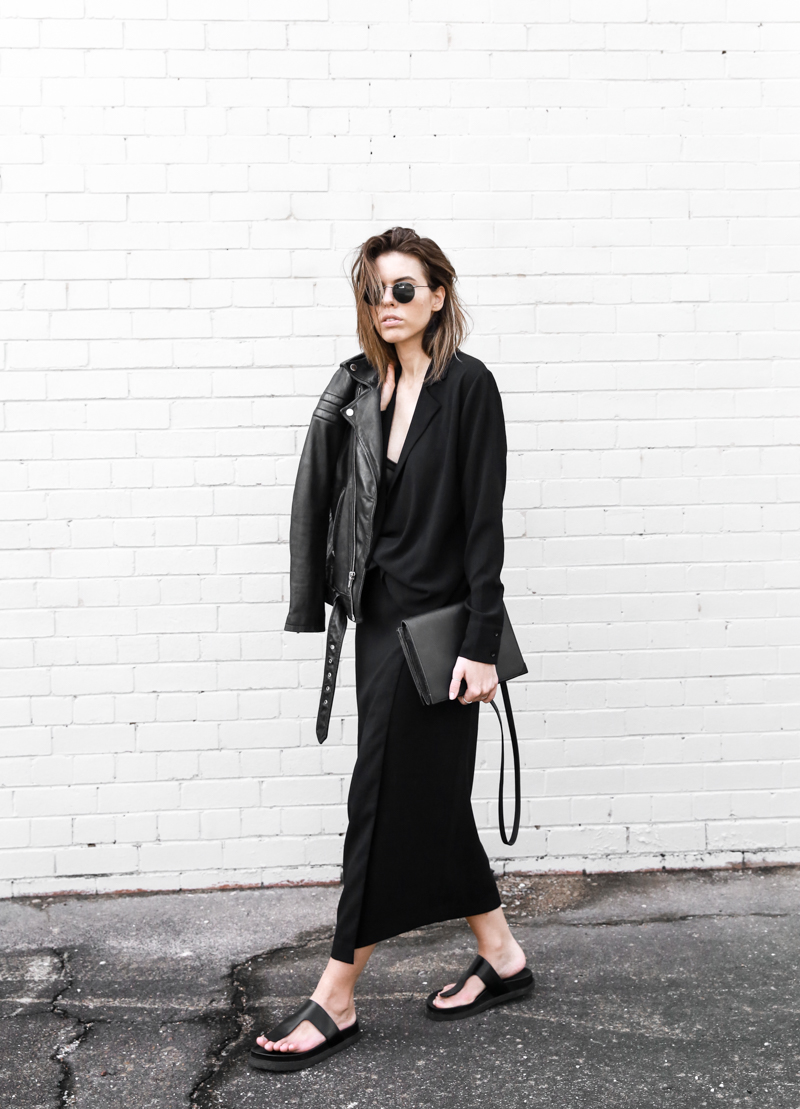 modern legacy, fashion blog, street style, leather jacket, BC x MODERN LEGACY, all black, Alexander Wang slide sandals (1 of 1)