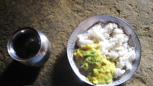 Rice and gatte ki Sabzi