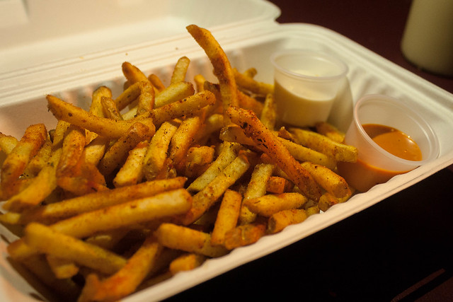 Cajun fries at Street Feast, Dalston Yard.