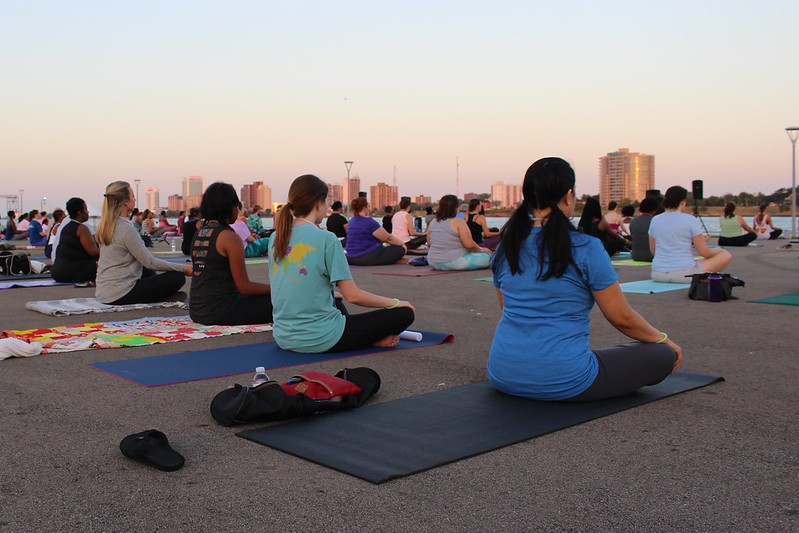 Meditation at Live the Riverfront Moonlight Yoga 2016