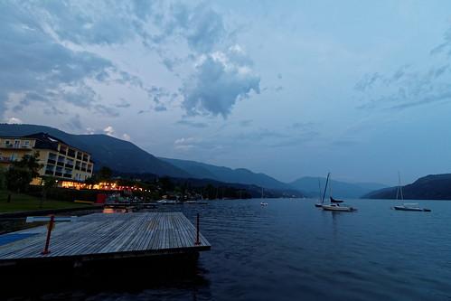 sunset lake water clouds hotel austria ship carinthia millstättersee millstatt