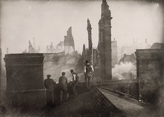 Fire (1904); aftermath of fire, Bay St. east side, looking south from north of Wellington St. W.