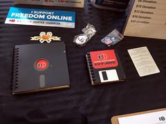 EFF floppy disk notebooks, EFF, San Francisco, California, USA