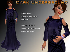 Dark purple long dress and jewelry
