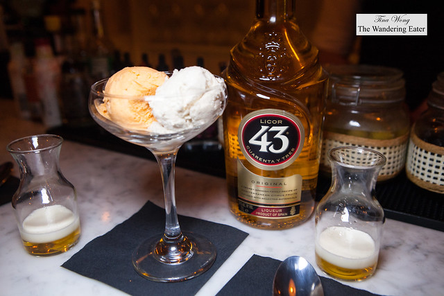 Dulce de leche and Cherimoya ice cream and shots of Licor 43 and infused cream
