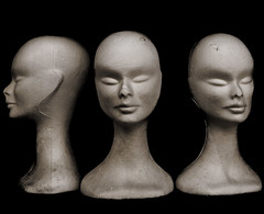 Mannequins with styrofoam heads