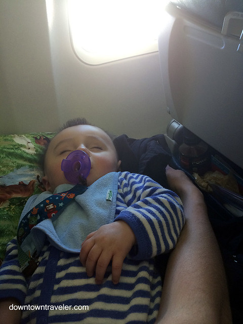 Sleeping baby on a plane