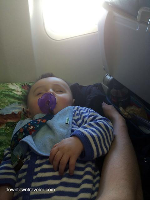 Sleeping baby on a plane