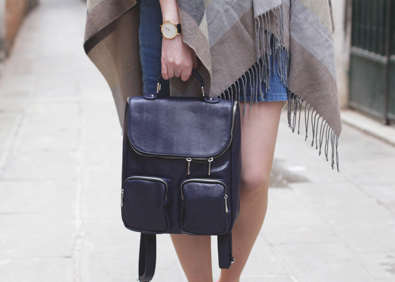 Striped poncho and Leather Rucksack, Bumpkin Betty