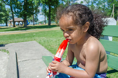 Enjoying an ice pop on a hot day