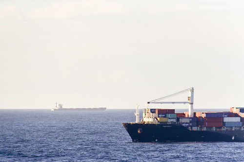 Container ship traffic off the Mauritanian coast