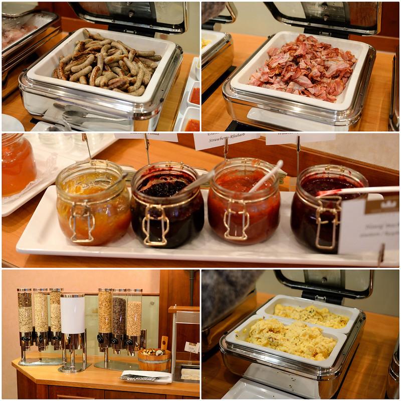 【Hotel Königshof 早餐】火腿、培根、果醬、麥片、蛋,相當豐盛