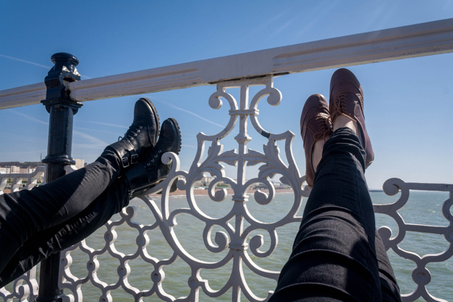 Relaxing on the Brighton Pier.