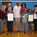 """State Reps. David Labriola and Rosa Rebimbas joined essay winners Karissa Moore and Samantha Valentine and their families for a photo after an awards presentation at Cross St. Intermediate School in Naugatuck. The essay theme was to describe an """"Important Woman in Connecticut History."""""""