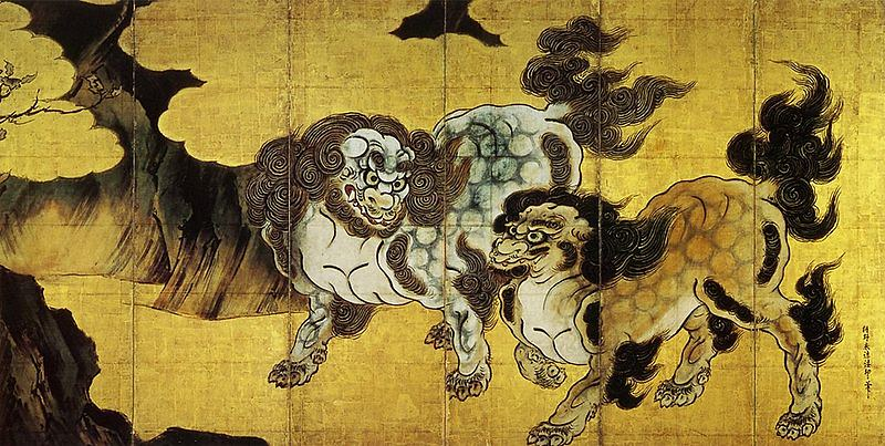 """Chinese lions"" by Kano Eitoku"