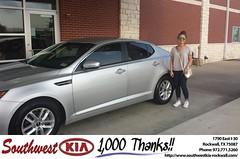 Congratulations to Natalie Jenkins on your #Kia #Optima from Zane Beadles at Southwest KIA Rockwall! #NewCar