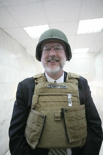 David Addington Wearing Body Armor at Hakim Compound in Red Zone, Baghdad