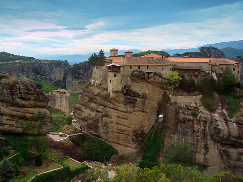 sky color nature rock architecture landscape ancient lift sony greece monastery meteora rivanova риванова