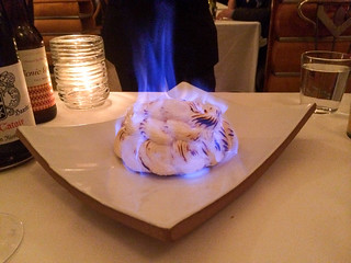 Almond – Baked Alaska with Rum, Caramel and Strawberry