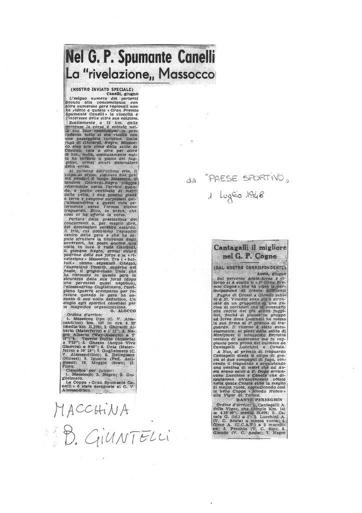 """G.P. Spumante Canelli 1948 - Massocco precede Ghirardi e Negro Alberto (quest'ultimo su macchina """"B. Giuntelli"""")"""
