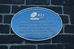 Photo of Warrington Wolves Rugby League Football Club and Hunslet Football Club blue plaque