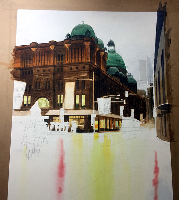 Watercolour painting of QVB by Mike Lamble  4