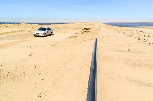 Pipeline dans le désert, Walvis Bay, Namibie