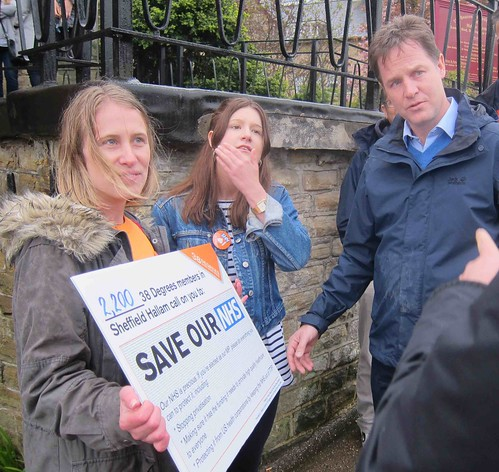 Handing Nick Clegg the Save our NHS petition