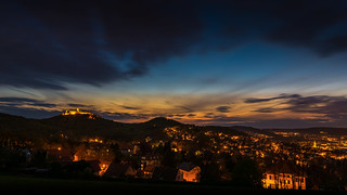 Gambar dari Wartburg dekat Eisenach. blue sonnenuntergang hour wartburg eisenach blaue stunde